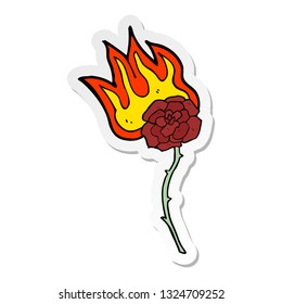 sticker of a cartoon burning rose