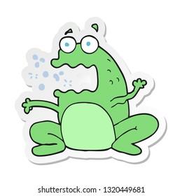 sticker of a cartoon burping frog