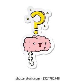 sticker of a cartoon curious brain