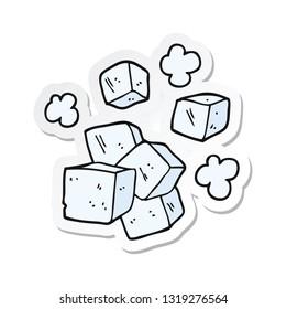 sticker of a cartoon ice cubes