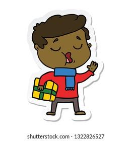 sticker of a cartoon man carol singing