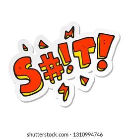 sticker of a cartoon obscured swearword