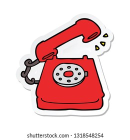 sticker of a cartoon old telephone