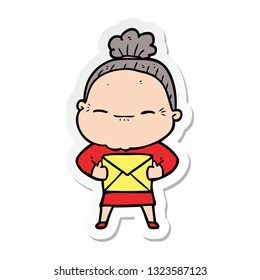 sticker of a cartoon peaceful old woman