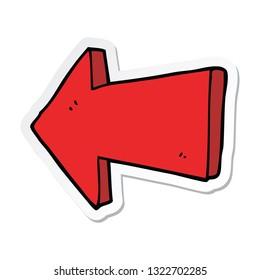 sticker of a cartoon pointing arrow