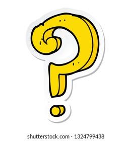 sticker of a cartoon question mark