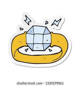 sticker of a cartoon ring with huge gem