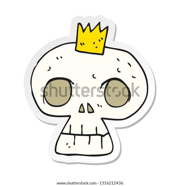 Sticker Cartoon Skull Crown Stock Vector Royalty Free 1316212436 Cartoon skull and crown and speech bubble sticker vector. shutterstock