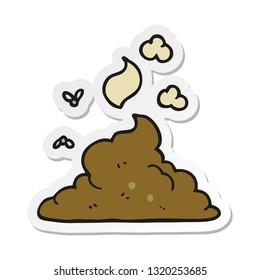sticker of a cartoon steaming pile of poop