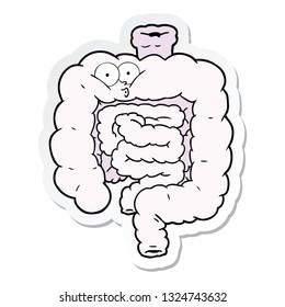 sticker of a cartoon surprised intestines