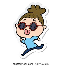 sticker of a cartoon woman running wearing sunglasses