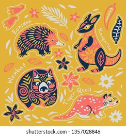 Sticker collection with decorative australian animals. Echidna, kangaroo, wombat and tiger quoll. Yellow, pink, coral limited color palette