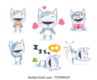 Sticker Collection of Emoji Cartoon Dog Emoticons. Vector