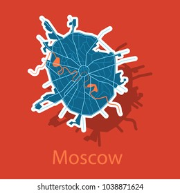 Sticker color map of Moscow. All objects are located on separate layers.