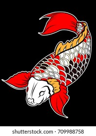 Sticker colorful Koi fish and water splash Japanese tattoo.Japanese art Koi carp fish with wave for Japanese tattoo.