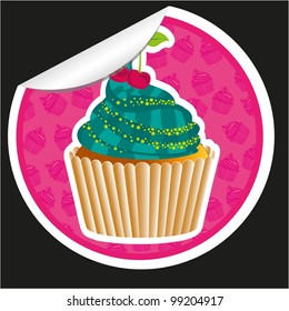 sticker cupcake with pattern silhouettes background  isolated on black