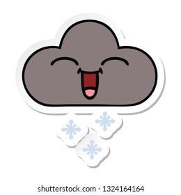 sticker of a cute cartoon storm snow cloud