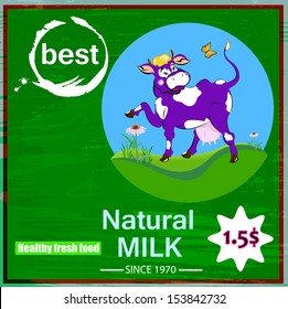 Sticker dairy products.A cheerful cow