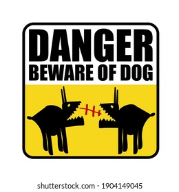 Sticker danger beware of dog Monster logo icon sign emblem Humorous сomic labels Funny creative home design Cartoon cute style Fashion print for clothes apparel greeting invitation card picture banner