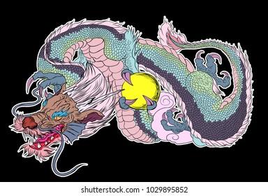 Sticker Dragon Tattoo.Dragon printing for T-shirt.