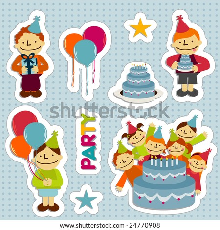Sticker Elements Birthday Party Balloons Stars Stock Vector Royalty