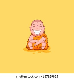 Sticker emoji emoticon emotion vector isolated illustration happy character sweet cute cartoon Buddha huge smile from ear to ear Buddhist monk saffron kashaya yellow background mobile app infographic