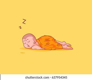 Sticker emoji emoticon emotion vector isolated illustration drowsy somnolent character cartoon Buddha sleeps on the stomach sticker Buddhist monk kashaya yellow background for mobile app info graphics