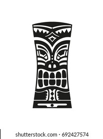 Sticker in ethnic style. Black and white mask of  Tiki totem Polynesian idol. Ethnic style vector pin, patch