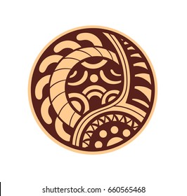 Sticker in ethnic style. Maori round pattern. Ethnic style vector pin, patch