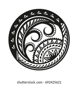 Sticker in ethnic style. Polynesian black round pattern. Ethnic style vector pin, patch