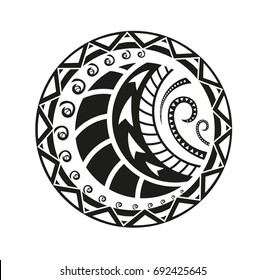 0add253b6c67d maori tattoo art. Sticker in ethnic style. Polynesian black round pattern. Ethnic  style vector pin, patch