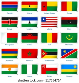 Sticker flags Africa (2 of 3). Vector illustration: 3 layers:  �· shadows  �· flat flag (you can use it separately)  �· sticker. Collection of 220 world flags. Accurate colors. Easy changes.
