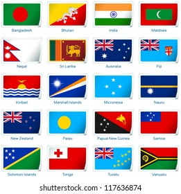 Sticker flags: South Asia and Oceania. Vector illustration: 3 layers:  �· shadows  �· flat flag (you can use it separately)  �· sticker. Collection of 220 world flags. Accurate colors. Easy changes.