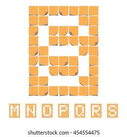 Sticker font alphabet. Sticky Notes. EPS 8