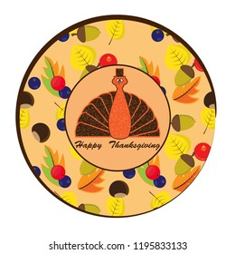 Sticker  with  forest berries,chestnuts,acorn and abstract turkey bird