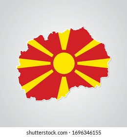 Sticker in form of Macedonia map in flat style. Vector Illustration Eps10.
