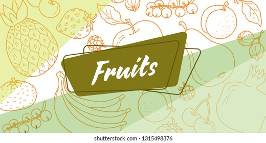 Sticker for Fruit grocery store. In the background, a pattern of fruit on a yellow background. Vector