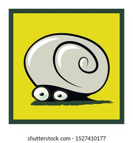 sticker with funny cowardly snail.