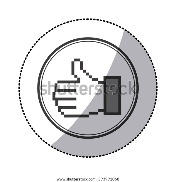 Sticker Grayscale Contour Pixel Thumb Inside Stock Vector