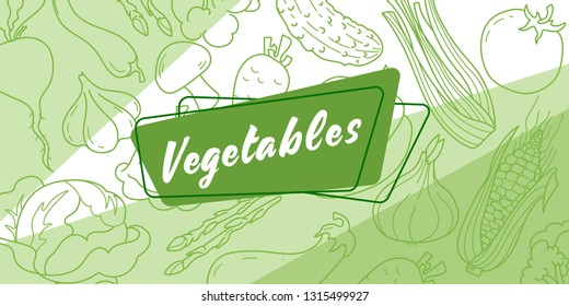 Sticker for grocery store Vegetables. In the background, a pattern of vegetables on a green background. Vector