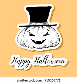 Sticker Halloween pumpkin. Happy Halloween! Vector illustration.