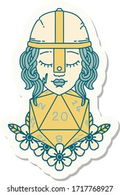 sticker of a human fighter with natural 20 D20 dice roll