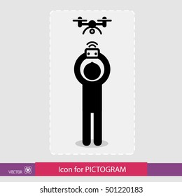 Sticker human figure, the control drone. Drone Icon Graphic, drone Icon Picture, drone Icon EPS, drone Icon AI, drone Icon Art, drone Icon, drone Icon Vector. For pictograms. eps8