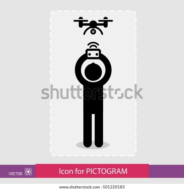 Sticker Human Figure Control Drone Drone Stock Vector