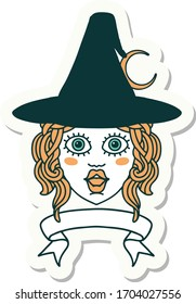 sticker of a human witch character with banner