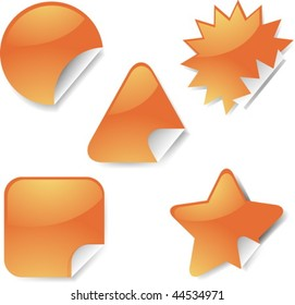 Sticker icon set, assorted blank geometric shapes