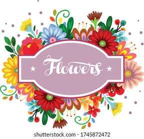sticker label with cute flower vector illustration