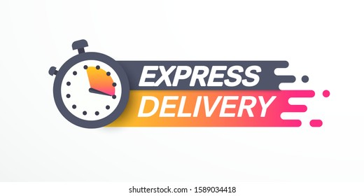 Sticker, label express delivery. Timer and express delivery inscription. Vector illustration. EPS 10