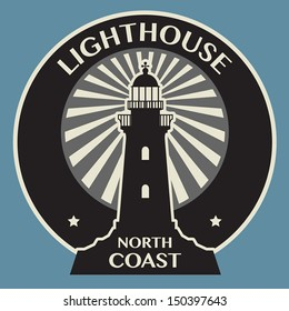 Sticker or label with Lighthouse silhouette, vector illustration