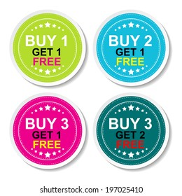Sticker or Label For Marketing Campaign, Buy 1 Get 1 Free, Buy 2 Get 1 Free, Buy 3 Get 1 Free and Buy 3 Get 2 Free With Colorful Icon.